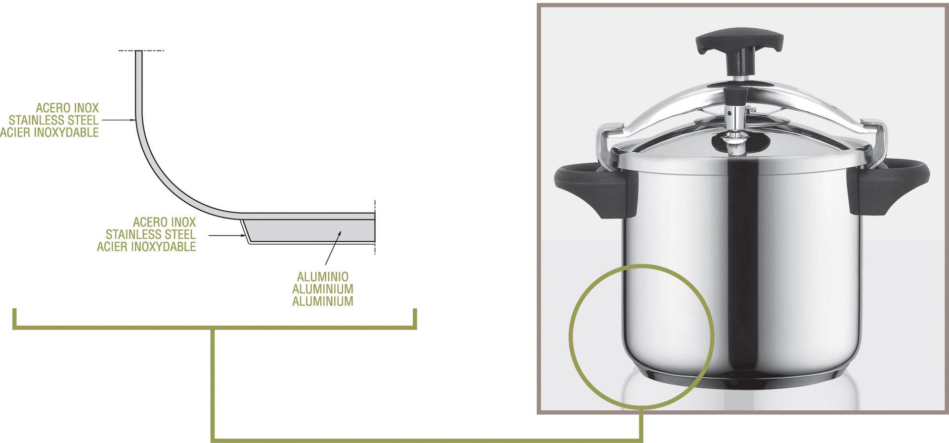 10liter schnellkochtopf aus edelstahl mit einsatz t v gs. Black Bedroom Furniture Sets. Home Design Ideas