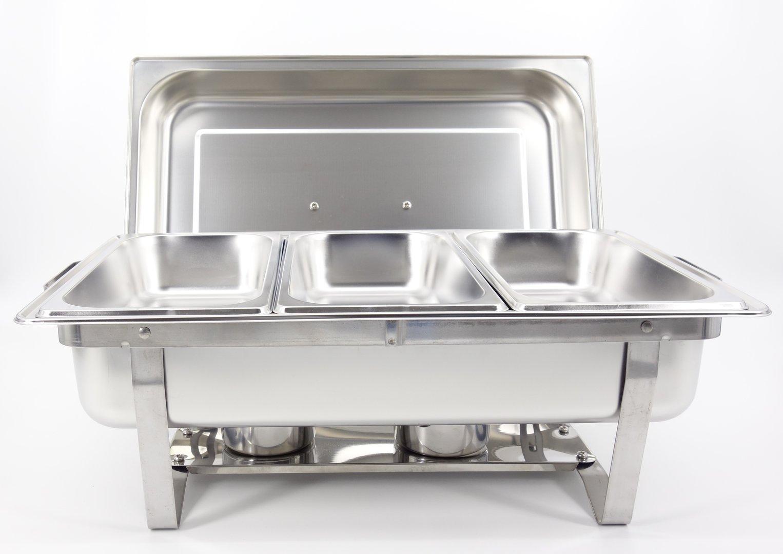 Chafing Dish Speisenwärmer  Warmhaltebehälter 3x1//3GN Behälter Faltbar